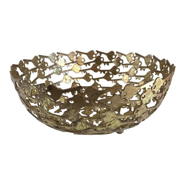 Groovy Metal Key Decor Bowl For Sale