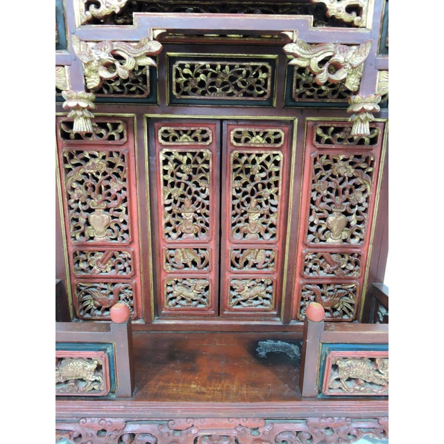20th Century Ornate Asian Red & Gold Carved Console Table, Thai 'Spirit House' For Sale - Image 9 of 10