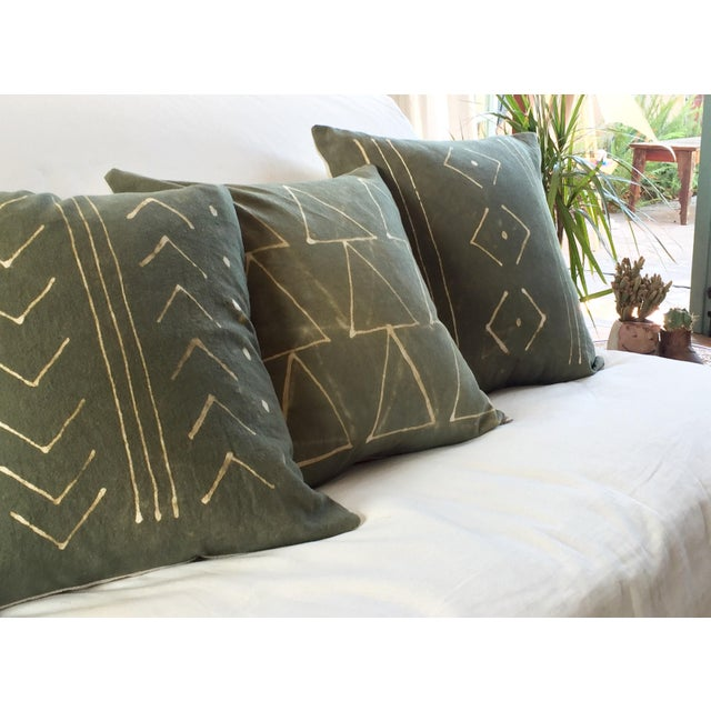 Hand-Dyed Dark Green Tribal Pillow Cover - Image 7 of 7