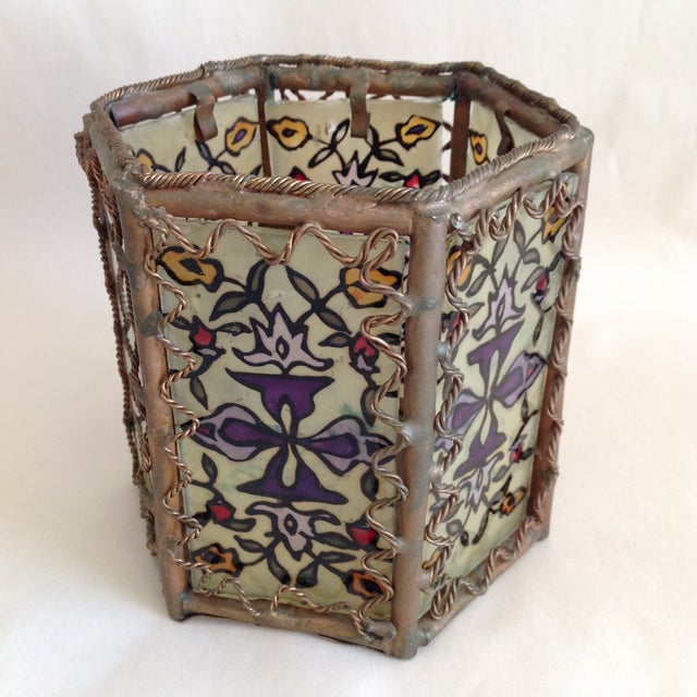 Bohemian Moroccan Brass & Glass Candle Lantern - Image 2 of 10