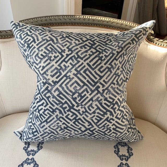 Linen Zak & Fox Basilica Blue and Natural Linen Pillow For Sale - Image 7 of 7