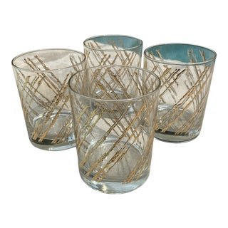Mid-Century Gold Geometric Design George Briard Cocktail Glasses - Set of 4 For Sale