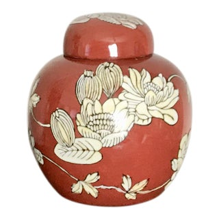 Small Hand Painted Orange and Cream Floral Ceramic Ginger Jar