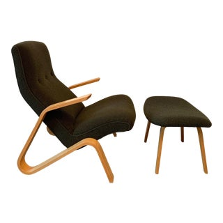 1960s Vintage Eero Saarinen for Knoll International Grasshopper Chair With Ottoman For Sale