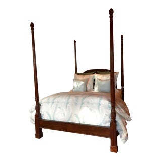 English Carved Mahogany Four Poster Queen Bed For Sale