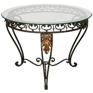 Italian Glass Top Table with Green Iron Frame and Gilt Metal Leaves