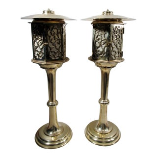Japanese Brass Lantern Lamps - A Pair For Sale