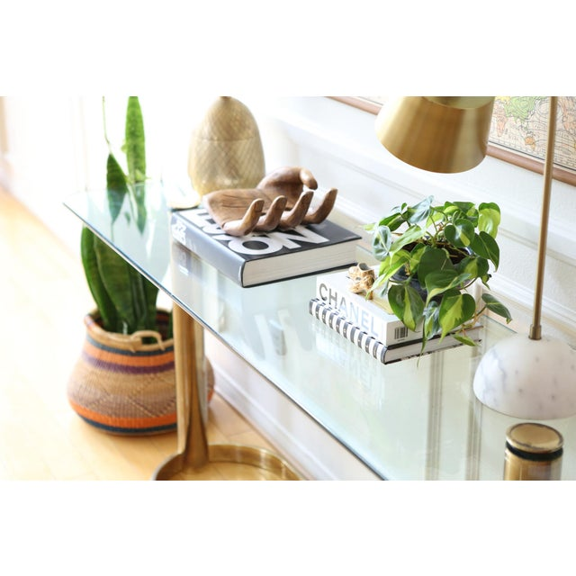 Mid-Century Pace Collection Glass Console Table - Image 3 of 8