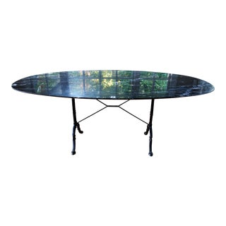 1950s French Cast Iron Base and Nero Marquina Knife-Edge Marble Top Bistro Table For Sale