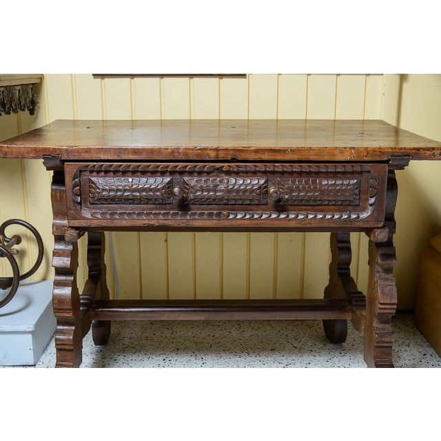Italian, carved walnut console table