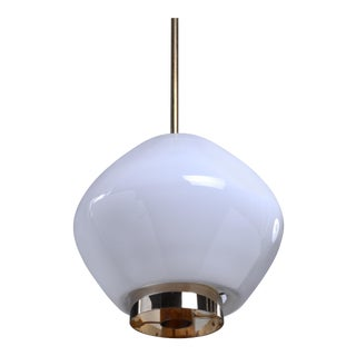 Paavo Tynell Rare Opaline Glass Pendant for Idman, Finland, 1950s For Sale