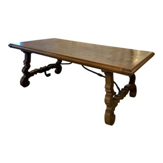 Spanish Walnut Parquetry Top Farm Table For Sale