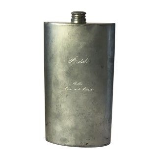 "Large Antique English Pewter Flask Inscribed ""Prosit, With Love and Kisses"""