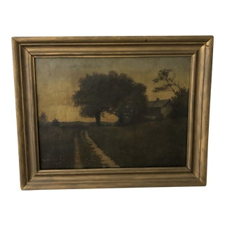 Hudson River School Landscape With Dutch Colonial Cabin With Catskills Oil Painting, 19th Century For Sale