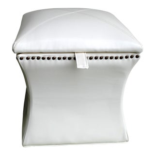 Contemporary White Vinyl Ottoman Storage For Sale