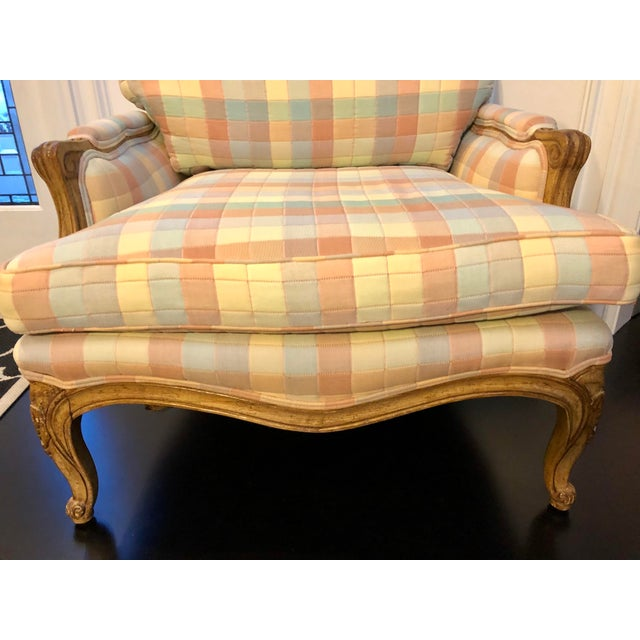 Vintage Upholstered Bergere Style Chair For Sale - Image 9 of 12