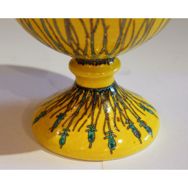 Ceramic Vintage Italian Mancioli Pottery Yellow Covered Raymor Jar For Sale - Image 7 of 11