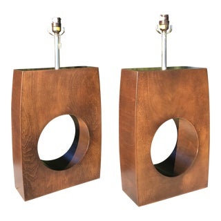 Mid-Century Walnut Table Lamps - A Pair