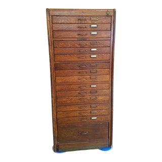 Antique Oak Library Bureau Sole Makers Flat File For Sale