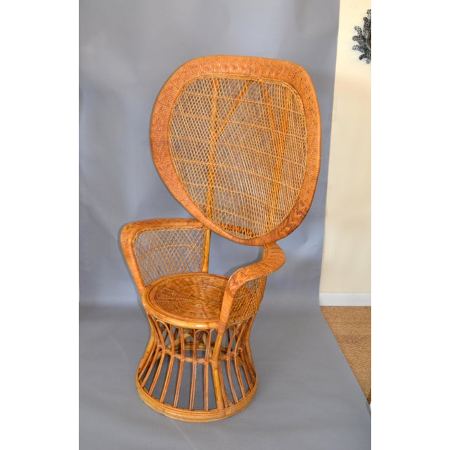 Americana Vintage Boho Chic Handcrafted Wicker, Rattan and Reed Peacock High Back Chair For Sale - Image 3 of 13