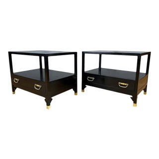 Pair of Michael Taylor for Baker Furniture Black Lacquered Side Tables, 1950s For Sale