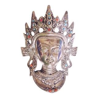 Tibetan Goddess Silver Mask Wall Hanging