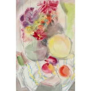 Still Life With Fruit and Flowers, Ink and Watercolor, 1942 For Sale