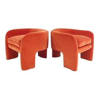 Vladimir Kagan Sculptural Armchairs Restored in Loro Piana Orange Velvet With Sheepskin Rug