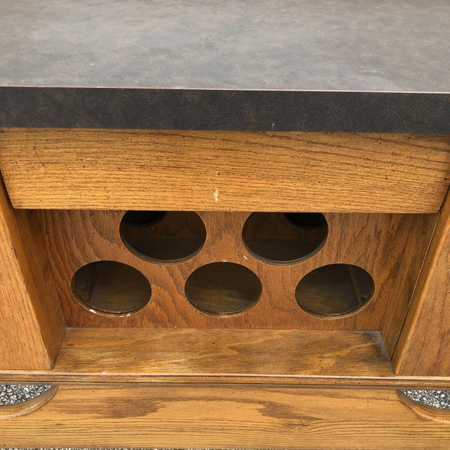 1970s Danish Mid Century Modern Oak Bar For Sale - Image 5 of 13