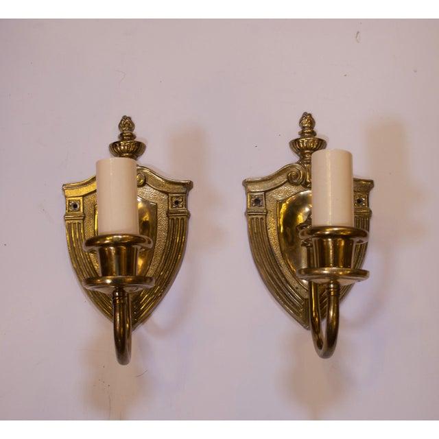 Cast Brass Sconces - A Pair For Sale - Image 4 of 4
