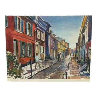 "Vintage Mid-Century ""Elfreth's Alley - Philadelphia"" Phil Austin United Airlines Print For Sale"