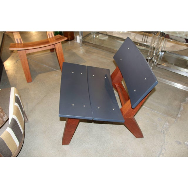 Rob Edley Welborn Prototype Lounge Chair in Wood and Blue Paint For Sale - Image 10 of 10