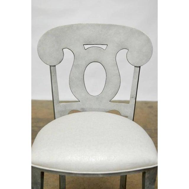 Modern Biedermeier Style Metal Barstools - Set of 3 - Image 5 of 10