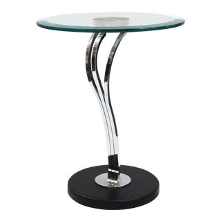 Modern Art Deco Style Side Table with Round Glass Top For Sale