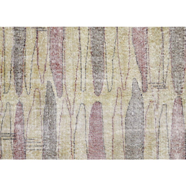 1960s vintage Turkish Mid-Century Modern carpet. Hand woven with wool on cotton foundation in the Sparta region of Western...