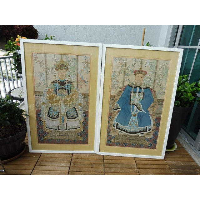 Hand Painted Chinese Ancestor Portrait Paintings - a Pair For Sale - Image 4 of 13