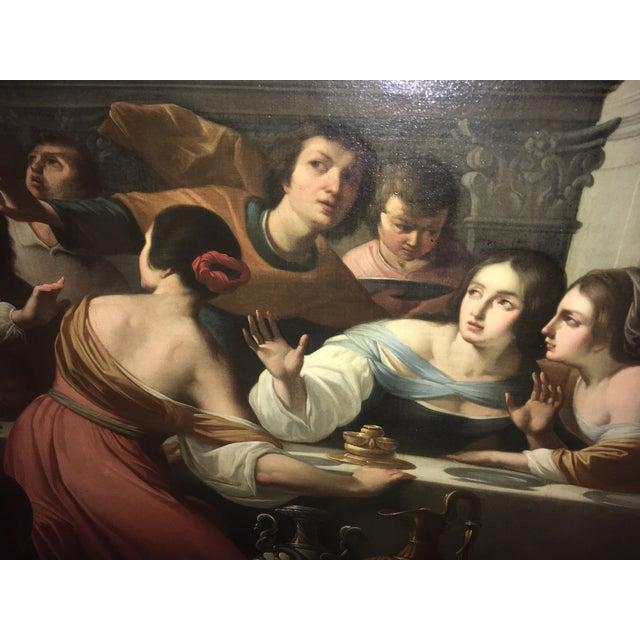 1859 Le Festin De Balthazar Oil Painting For Sale - Image 4 of 10