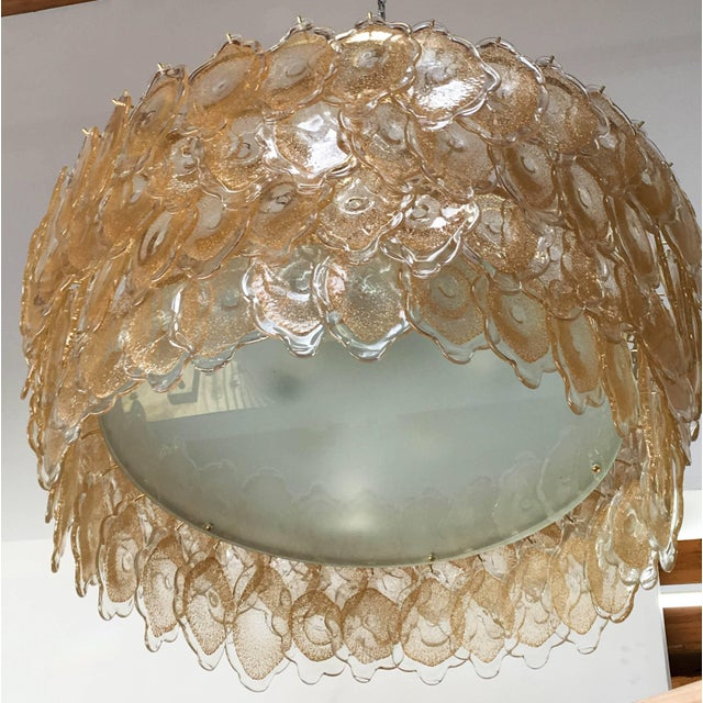 Vintage Italian chandelier with 128 uniquely hand blown 24 karat gold infused Murano glasses, mounted on a brass drum-...