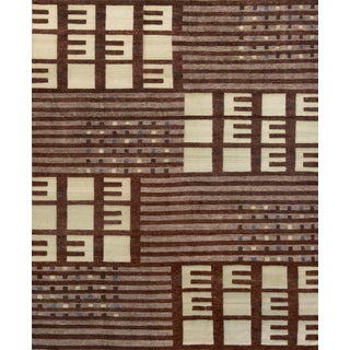 Mansour Modern Handwoven Swedish Inspired Contemporary Wool Rug For Sale