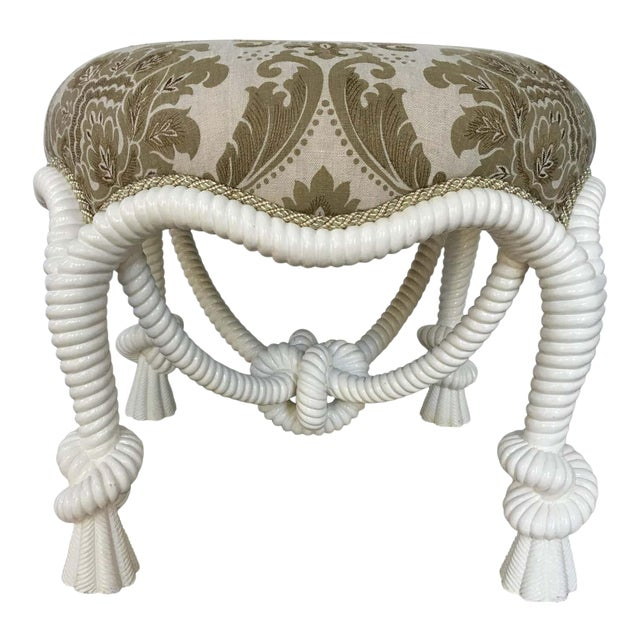 20th Century Napoleon III Style Lacquered Rope Twist Upholstered Tabouret For Sale