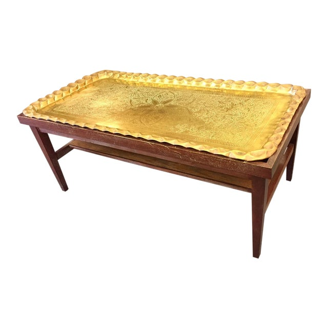Moroccan Style Hand-Etched and Hammered Brass Tray Top Table For Sale