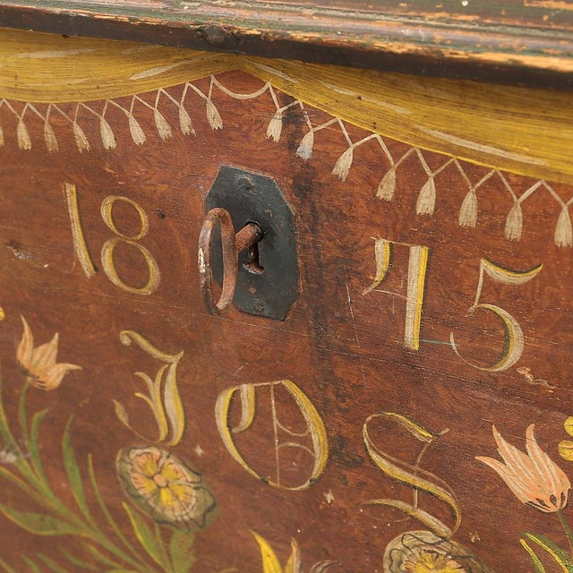 Antique Swedish Painted Chest, 1845 For Sale - Image 4 of 10