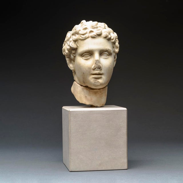 Hellenistic Marble Head of Alexander the Great For Sale - Image 4 of 8