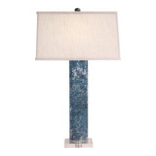 Blue Rectangle Post Table Lamp With Acrylic Base and Linen Shade For Sale