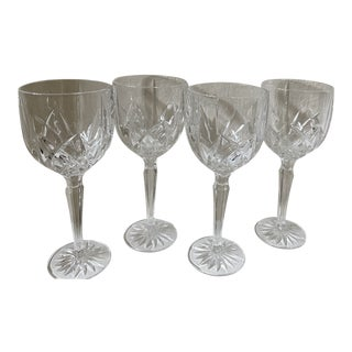 2000s Marquis by Waterford Crystal Brookside Wine Glasses - Set of 4 For Sale