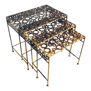 Vintage Boho Chic Metal Cut-Out Nesting Tables - Set of 3 For Sale