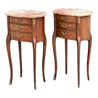 French Inlaid Nightstands - a Pair For Sale