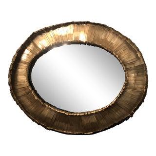Brutalist Vevila Oval Mirror For Sale