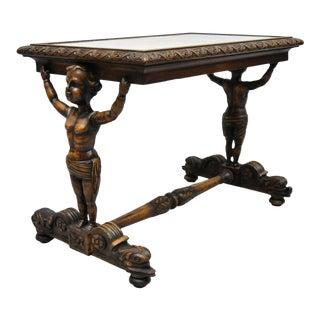 20th Century Italian Carved Full Cherub Side Table For Sale