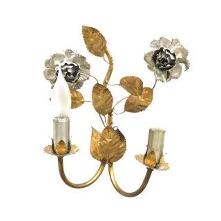 1960s Vintage Florentine Gilded Flower & Leaf Sconce Lamp For Sale